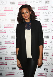 Alesha Dixon layered a black blazer over a lace-panel blouse for her 2012 Empowering Women Awards red carpet look.