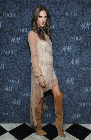 Alessandra Ambrosio Knee High Boots