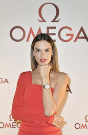 Alessandra Ambrosio showed off her Omega gold watch during the brand's Aqua Terra collection celebration.