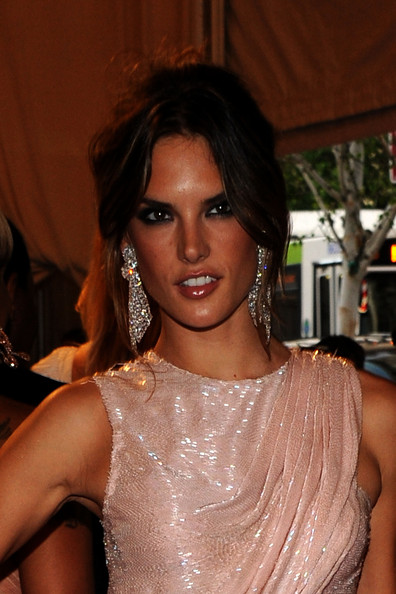 Alessandra Ambrosio Dangling Diamond Earrings [american woman: fashioning a national identity,hair,eyebrow,beauty,hairstyle,lip,shoulder,chin,fashion,black hair,eyelash,alessandra ambrosio,arrivals,costume institute gala benefit,metropolitan museum of art,new york city,met gala,opening,exhibition]