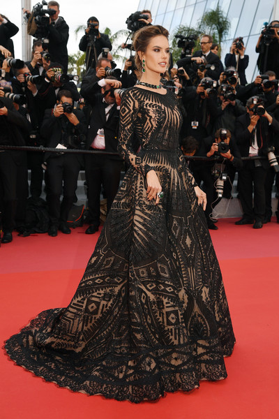 Alessandra Ambrosio Embroidered Dress [flooring,fashion model,carpet,gown,dress,fashion,red carpet,haute couture,girl,fashion design,red carpet arrivals,alessandra ambrosio,blackkklansman,screening,cannes,france,cannes film festival,palais des festivals]