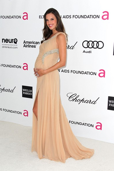 Alessandra Ambrosio Maternity Dress [dress,clothing,shoulder,gown,hairstyle,fashion model,pink,fashion,premiere,red carpet,arrivals,alessandra ambrosio,west hollywood park,california,elton john aids foundation,oscar viewing party]