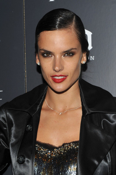 Alessandra Ambrosio Red Lipstick [blue valentine,hair,face,eyebrow,lip,hairstyle,black hair,beauty,forehead,chin,cheek,alessandra ambrosio,arrivals,screening,new york city,thetribeca grand hotel,cinema society piaget,cinema society piaget host a screening]