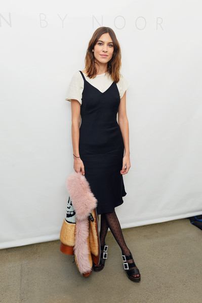 Alexa Chung Little Black Dress [shows,clothing,white,dress,fashion model,shoulder,cocktail dress,lady,fashion,footwear,leg,noor - backstage,noon by noor,alexa chung,new york city,spring studios,new york fashion week,the shows at gallery ii]