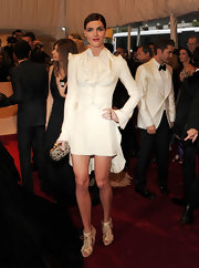 Hilary Rhoda looked stylish in a white skirt suit for the Met Gala Costume Ball.