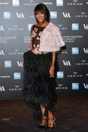 Naomi Campbell cut a dramatic figure at the Savage Beauty exhibition in an Alexander McQueen gown featuring a sheer bodice and an ostrich-feather skirt.
