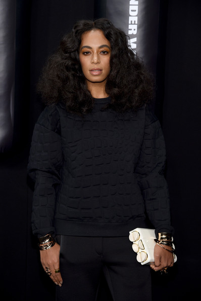 Solange Knowles went for her usual voluminous curls at the Alexander Wang x H&M launch.