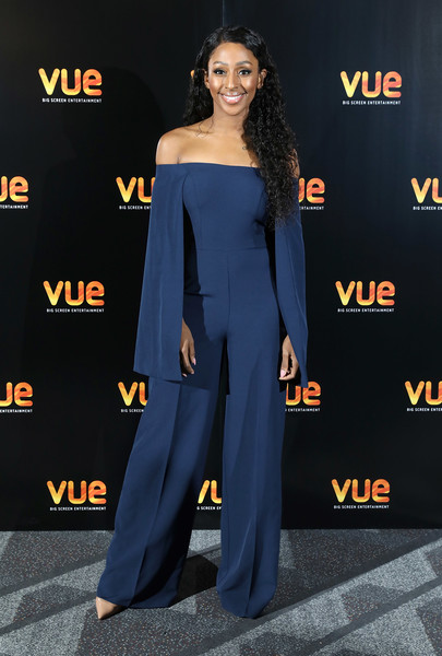 Alexandra Burke Jumpsuit [photograph,clothing,premiere,shoulder,carpet,red carpet,fashion,suit,dress,flooring,electric blue,alexandra burke,pitch perfect 3,london,england,vue west end,advance screening,fan screening]