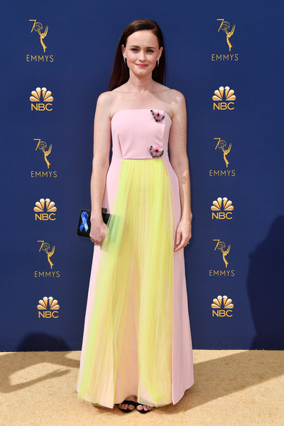 Alexis Bledel Strapless Dress [dress,clothing,shoulder,gown,fashion model,yellow,fashion,strapless dress,a-line,formal wear,arrivals,alexis bledel,emmy awards,70th emmy awards,microsoft theater,los angeles,california]