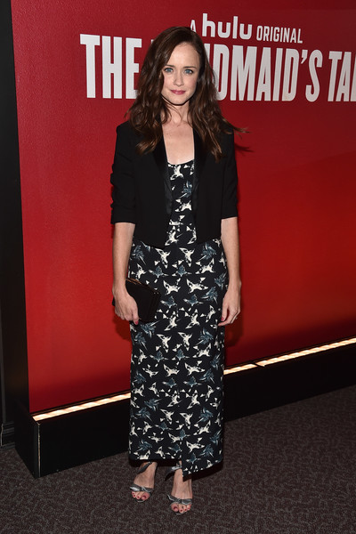 Alexis Bledel Evening Sandals [the handmaids tale,clothing,premiere,dress,carpet,fashion,red carpet,footwear,flooring,fashion model,event,alexis bledel,hulu,california,los angeles,dga theater,fyc,red carpet,event,event]