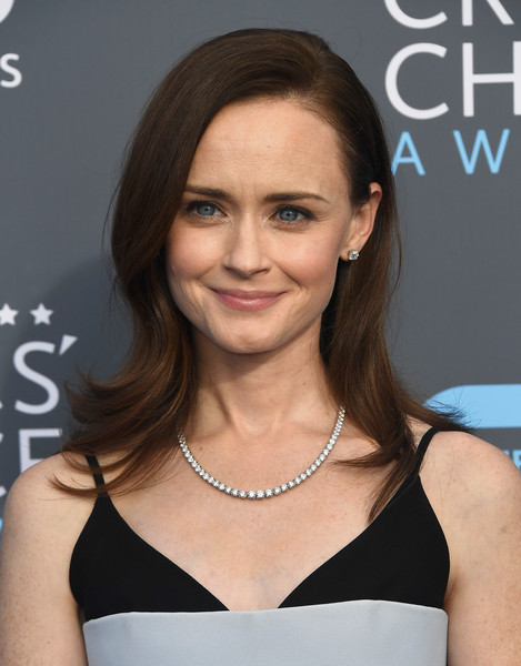 Alexis Bledel Flip [hair,face,hairstyle,eyebrow,beauty,shoulder,premiere,brown hair,long hair,cocktail dress,arrivals,alexis bledel,santa monica,california,barker hangar,annual critics choice awards]