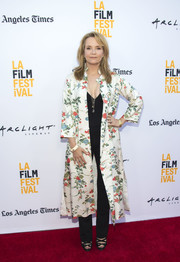 Lea Thompson looked fetching in a floral coat at the LA Film Festival premiere of 'The Book of Henry.'