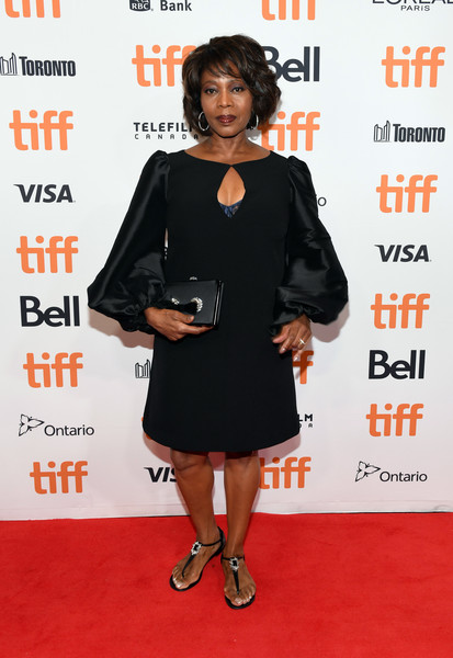 Alfre Woodard Thong Sandals [clothing,dress,little black dress,cocktail dress,carpet,premiere,red carpet,footwear,formal wear,shoe,premiere - arrivals,alfre woodard,clemency,toronto,canada,roy thomson hall,toronto international film festival,premiere]