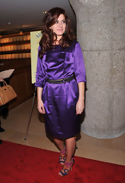 Debra Messing wore a bright purple cocktail dress to Ali Wentworth's book launch.