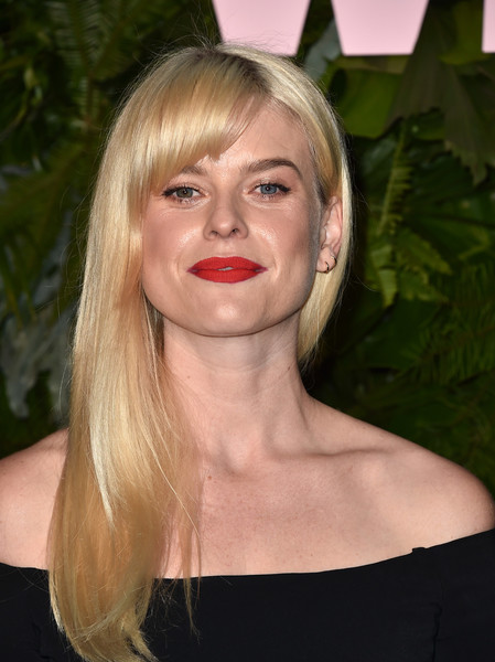 Alice Eve Long Straight Cut with Bangs [arrivals,hair,face,blond,lip,hairstyle,eyebrow,chin,lady,beauty,cheek,california,los angeles,chateau marmont,max mara wif face of the future,max mara women in film face of the future,alice eve]