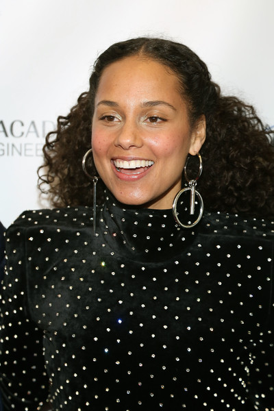 Alicia Keys Half Up Half Down [hair,polka dot,hairstyle,eyebrow,pattern,lip,cheek,design,forehead,black hair,alicia keys,swizz beatz,the rainbow room,new york city,recording academy producers and engineers wing presents 11th annual grammy week event,recording academy producers and engineers wing,event,11th annual grammy week]