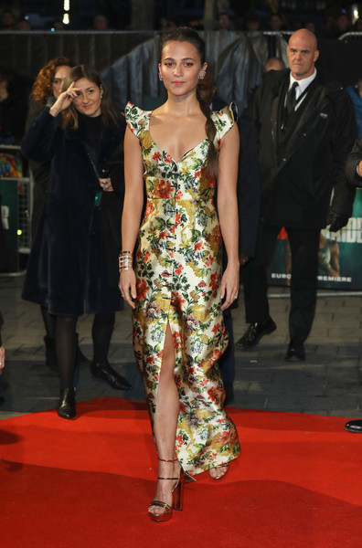 Alicia Vikander Print Dress
