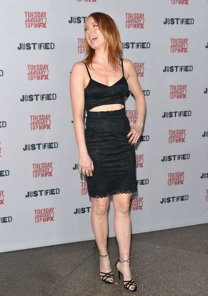 Alicia Witt Strappy Sandals [season,justified,season 5,clothing,cocktail dress,dress,shoulder,little black dress,fashion,footwear,premiere,joint,waist,arrivals,alicia witt,los angeles,california,dga theater,premiere screening of fx,premiere]