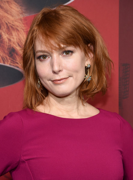 Alicia Witt Bob [russian doll,season,hair,face,hairstyle,eyebrow,blond,chin,bangs,lip,layered hair,brown hair,alicia witt,new york city,netflix,metrograph,premiere]