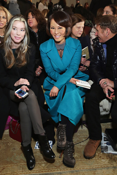 Alina Cho Lace Up Boots [fashion,event,footwear,outerwear,fashion design,premiere,suit,electric blue,fur,fashion accessory,tory burch,alina cho,front row,new york city,583 park avenue,mercedes-benz fashion week,fashion show]