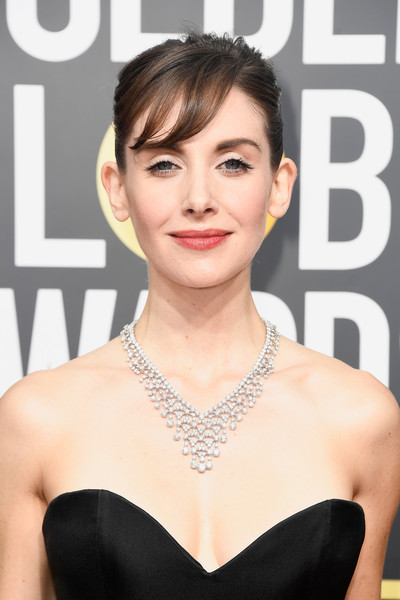 Alison Brie Diamond Chandelier Necklace [hair,face,hairstyle,skin,eyebrow,lip,chin,beauty,shoulder,premiere,arrivals,alison brie,beverly hills,california,the beverly hilton hotel,golden globe awards,annual golden globe awards]