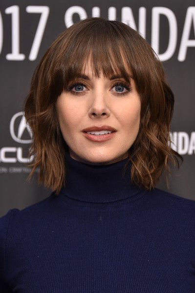 Alison Brie Short Wavy Cut [hair,face,hairstyle,bangs,eyebrow,layered hair,chin,brown hair,lip,blond,alison brie,the little hours,utah,park city,library center theater,sundance film festival,premiere]