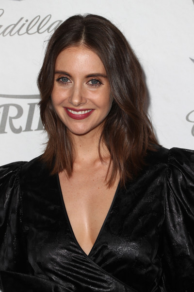 Alison Brie Medium Wavy Cut [variety and women in film,variety and women in films 2018 pre-emmy celebration,hair,hairstyle,eyebrow,long hair,black hair,brown hair,layered hair,lip,leather,little black dress,alison brie,arrivals,west hollywood,california,cecconi,2018 pre-emmy celebration]