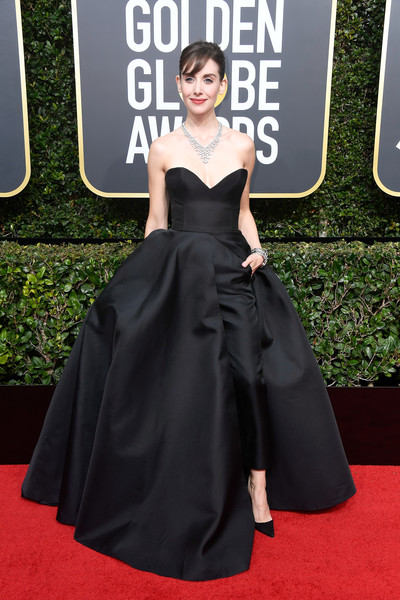 Alison Brie Jumpsuit [red carpet,dress,clothing,carpet,gown,flooring,premiere,a-line,fashion,fashion model,arrivals,alison brie,beverly hills,california,the beverly hilton hotel,golden globe awards,annual golden globe awards]