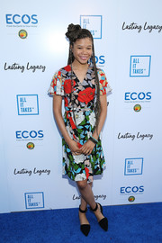Storm Reid completed her outfit with pointy black flats.