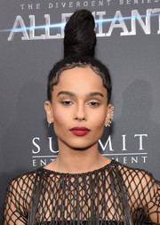 Zoe Kravitz played up her pout with matte red lipstick.
