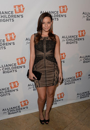 Samantha Droke donned a multi-patterned lace mini dress for the Alliance for Children's Rights dinner.