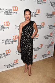 Grace Gealey chose a fun and elegant polka-dot one-shoulder dress for the Alliance for Children's Rights dinner.