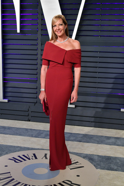 Allison Janney Off-the-Shoulder Dress [oscar party,vanity fair,clothing,dress,shoulder,red,fashion model,fashion,standing,beauty,gown,pink,beverly hills,california,wallis annenberg center for the performing arts,radhika jones - arrivals,radhika jones,allison janney]