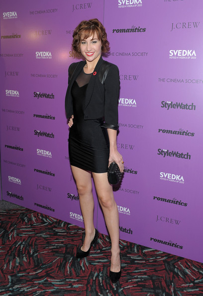 Allison Scagliotti Blazer [cinema society screening of ``the romantics,the romantics,clothing,dress,cocktail dress,little black dress,fashion,purple,shoulder,footwear,carpet,joint,inside arrivals,allison scagliotti,screening,theater,new york city,amc loews 19th street east 6,j. crew,cinema society with people stylewatch]