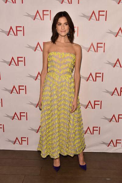 Allison Williams Strapless Dress [clothing,dress,shoulder,fashion model,yellow,strapless dress,fashion,hairstyle,premiere,cocktail dress,arrivals,allison williams,los angeles,four seasons hotel,california,beverly hills,afi awards]