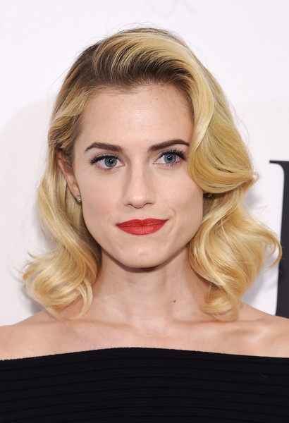 Allison Williams Red Lipstick [allison williams,dvf awards,hair,face,blond,hairstyle,lip,eyebrow,shoulder,chin,beauty,skin,united nations headquarters,new york city]