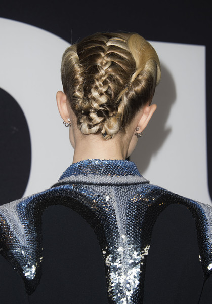Allison Williams French Braid [get out,hair,hairstyle,fashion,bun,chignon,beauty,haute couture,blond,long hair,neck,red carpet,allison williams,valerie macon,california,los angeles,universal pictures,afp,screening,universal pictures special screening of ``get out]
