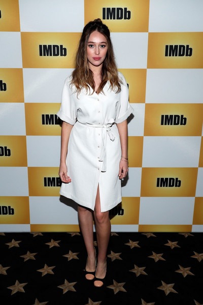 Alycia Debnam-Carey Shirtdress [clothing,yellow,dress,fashion,hairstyle,cocktail dress,footwear,flooring,red carpet,carpet,imdb yacht,alycia debnam-carey,san diego,california,san diego comic-con]