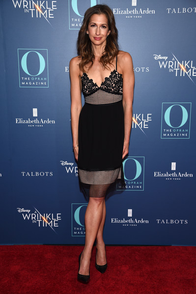 Alysia Reiner Cocktail Dress [o the oprah magazine hosts special nyc screening of ``a wrinkle in time,a wrinkle in time,clothing,dress,cocktail dress,carpet,fashion,little black dress,red carpet,premiere,electric blue,strapless dress,alysia reiner,nyc,walter reade theater,screening]