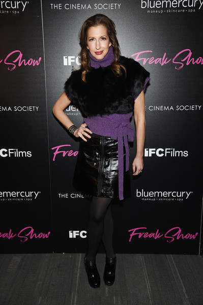 Alysia Reiner Crop Top [freak show,cinema society hosts the premiere of ifc films,clothing,fashion,beauty,dress,footwear,fashion model,magenta,model,style,fashion design,alysia reiner,new york city,ifc films,the cinema society at landmark sunshine cinema,premiere]