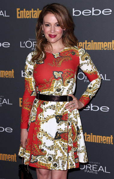Alyssa Milano Print Dress [fashion model,clothing,dress,lady,fashion,hairstyle,cocktail dress,premiere,fashion design,carpet,party - arrivals,alyssa milano,west hollywood,california,fig olive melrose place,entertainment weekly,pre-emmy party]