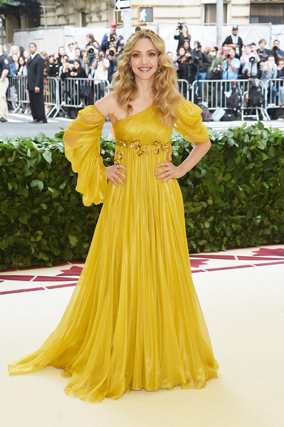 Amanda Seyfried One Shoulder Dress [heavenly bodies: fashion the catholic imagination costume institute gala - arrivals,yellow,gown,flooring,dress,fashion model,carpet,fashion,girl,haute couture,long hair,new york city,metropolitan museum of art,amanda seyfried]