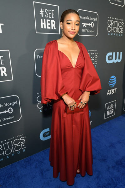 Amandla Stenberg Box Clutch [red carpet,red carpet,clothing,carpet,red,dress,shoulder,premiere,fashion,flooring,neck,amandla stenberg,critics choice awards,santa monica,california,barker hangar]