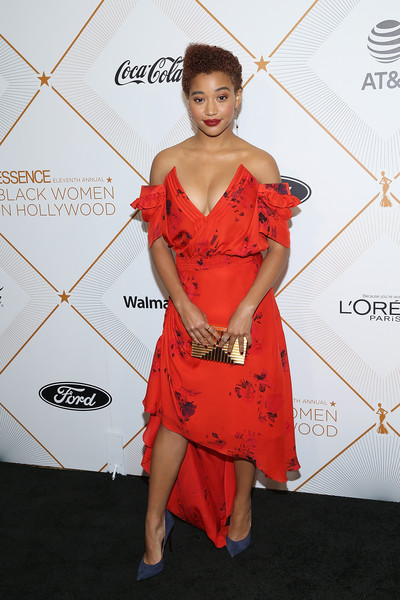 Amandla Stenberg Pumps [clothing,shoulder,dress,red,cocktail dress,red carpet,hairstyle,carpet,joint,fashion,amandla stenberg,arrivals,beverly hills,california,beverly wilshire four seasons hotel,essence 11th annual black women in hollywood awards gala]