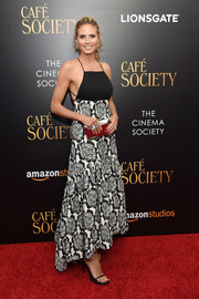 Heidi Klum looked effortlessly glam in a black-and-white floral halter dress at the New York premiere of 'Cafe Society.'
