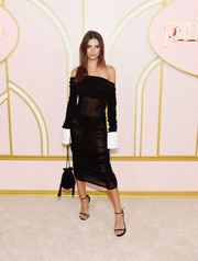 Emily Ratajkowski oozed sex appeal wearing this sheer black off-the-shoulder dress by Anaïs Jourden at the Amazon Prime Video post-Emmy party.