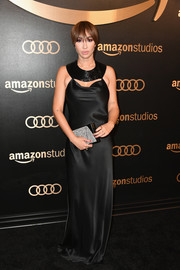 Jackie Cruz donned a slinky black Cushnie et Ochs gown with a sequined collar for the Amazon Studios Golden Globes celebration.
