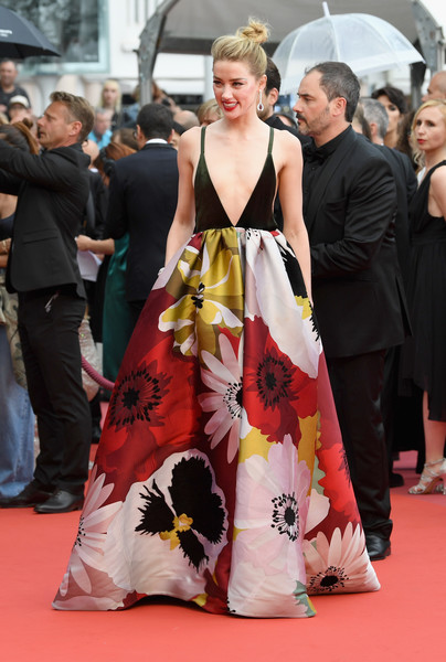 Amber Heard Print Dress [flooring,carpet,red carpet,fashion,gown,event,fashion model,haute couture,girl,costume,may 10,amber heard,plaire,screening,sorry angel,red carpet arrivals - the 71st annual cannes film festival,aimer et courir vite during the 71st annual cannes film festival,palais des festivals,cannes,france]