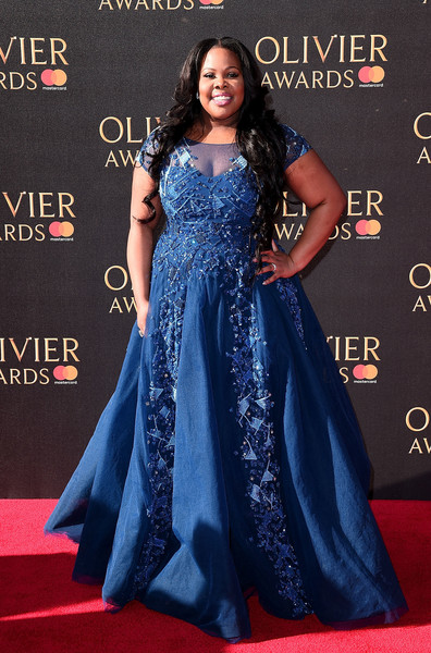 Amber Riley Beaded Dress [blue,flooring,gown,carpet,beauty,lady,dress,red carpet,fashion,electric blue,red carpet arrivals,amber riley,olivier awards,royal albert hall,london,england,amber riley,2017 laurence olivier awards,royal albert hall,laurence olivier award,dreamgirls,red carpet,dress,award,celebrity,photograph]