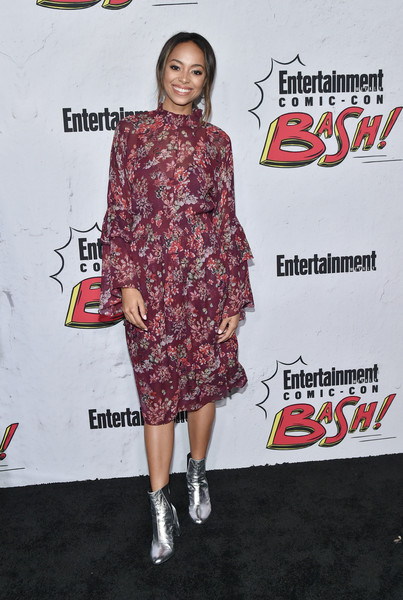 Amber Stevens West Print Dress [entertainment weekly hosts its annual comic-con party at float at the hard rock hotel,san diego in celebration of comic-con 2017 - arrivals,clothing,footwear,joint,red carpet,carpet,shoulder,fashion,dress,premiere,flooring,san diego,amber stevens west,hard rock hotel,california,entertainment weekly,party,celebration,comic-con]